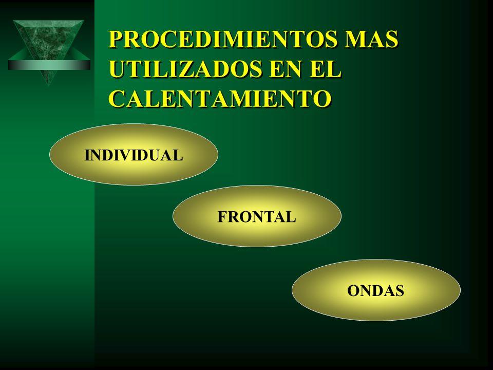 PROCEDIMIENTOS MAS UTILIZADOS EN EL CALENTAMIENTO INDIVIDUAL FRONTAL ONDAS