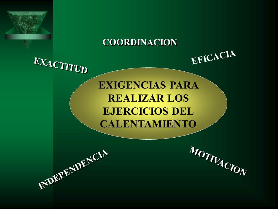EXIGENCIAS PARA REALIZAR LOS EJERCICIOS DEL CALENTAMIENTO EXACTITUD INDEPENDENCIA COORDINACION EFICACIA MOTIVACION