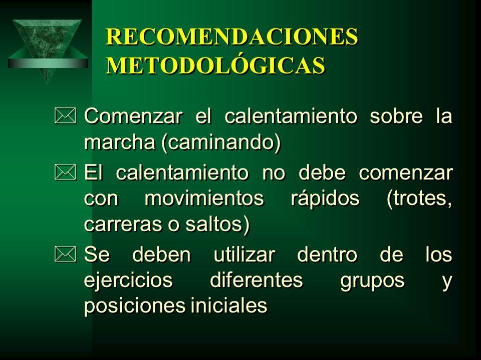 RECOMENDACIONES METODOLÓGICAS *Comenzar el calentamiento sobre la marcha (caminando) *El calentamiento no debe comenzar con movimientos rápidos (trote