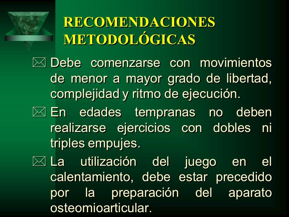 RECOMENDACIONES METODOLÓGICAS *Debe comenzarse con movimientos de menor a mayor grado de libertad, complejidad y ritmo de ejecución. *En edades tempra