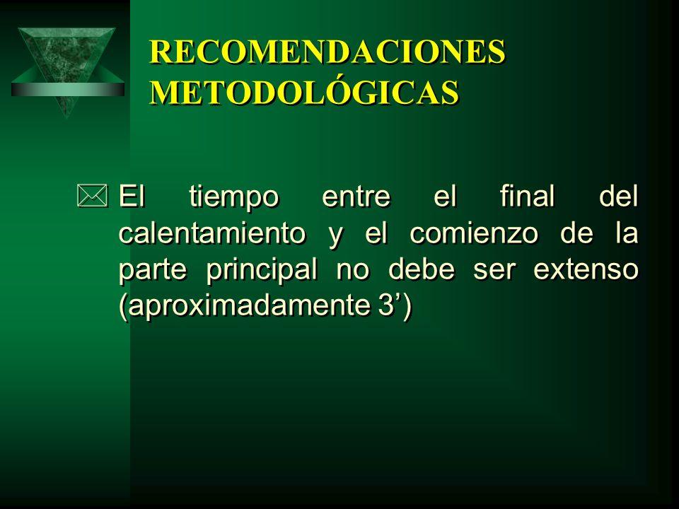 RECOMENDACIONES METODOLÓGICAS *El tiempo entre el final del calentamiento y el comienzo de la parte principal no debe ser extenso (aproximadamente 3)
