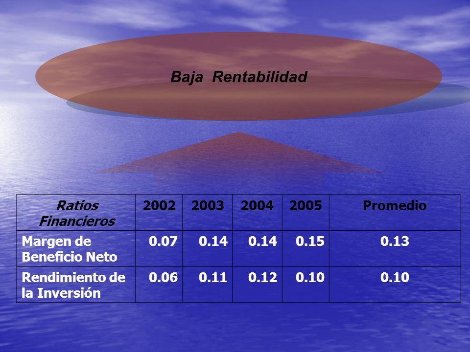 Baja Rentabilidad Ratios Financieros 2002200320042005Promedio Margen de Beneficio Neto 0.070.14 0.150.13 Rendimiento de la Inversión 0.060.110.120.10