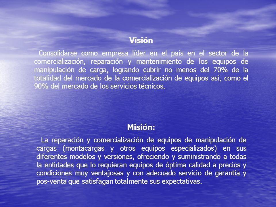 Visión Consolidarse como empresa líder en el país en el sector de la comercialización, reparación y mantenimiento de los equipos de manipulación de ca