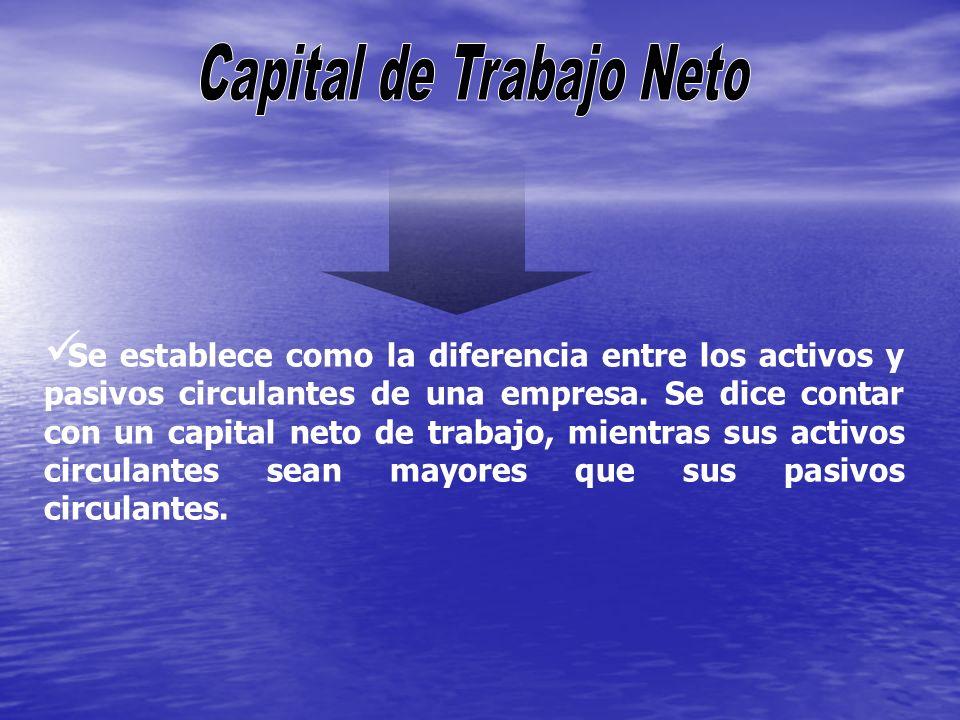 Se establece como la diferencia entre los activos y pasivos circulantes de una empresa. Se dice contar con un capital neto de trabajo, mientras sus ac