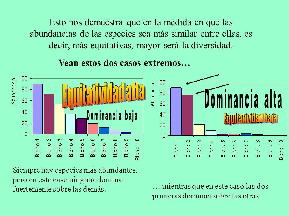 EQUITATIVIDAD ALTA Cual es la relación Equitatividad – Dominancia.