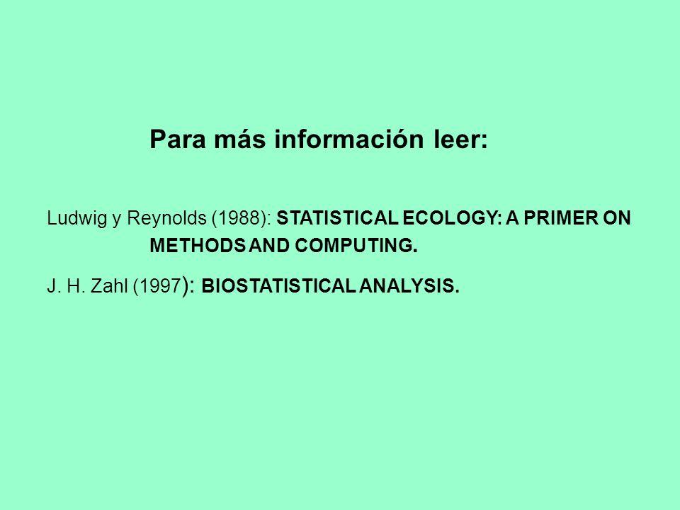Para más información leer: Ludwig y Reynolds (1988): STATISTICAL ECOLOGY: A PRIMER ON METHODS AND COMPUTING. J. H. Zahl (1997 ): BIOSTATISTICAL ANALYS