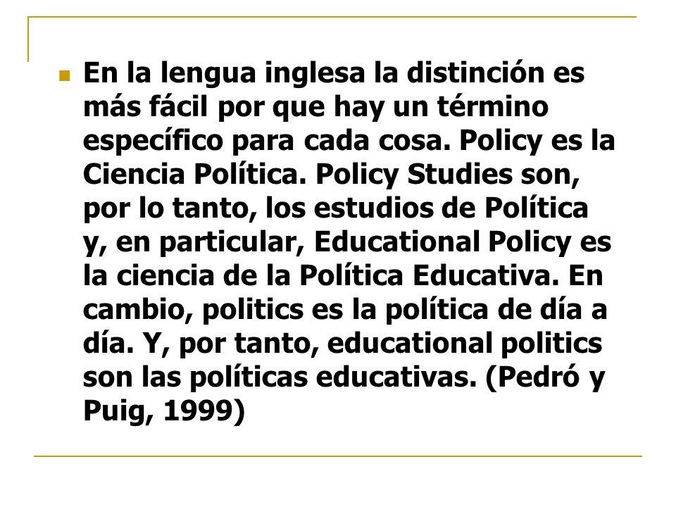 En la lengua inglesa la distinción es más fácil por que hay un término específico para cada cosa. Policy es la Ciencia Política. Policy Studies son, p