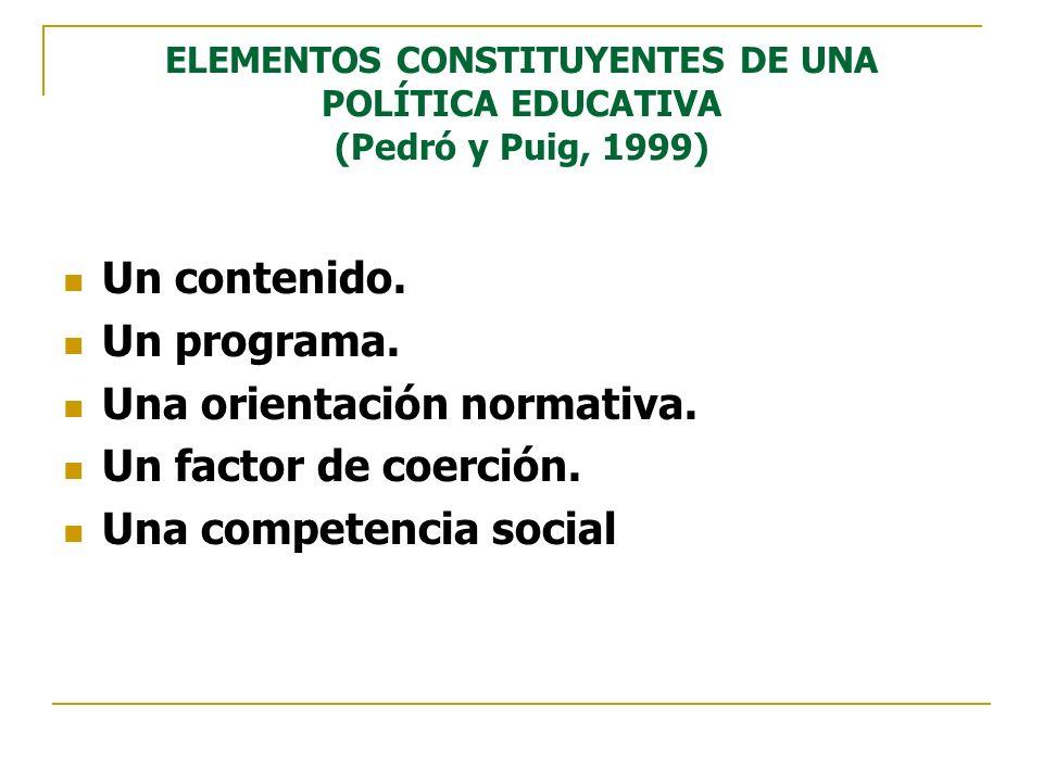 ELEMENTOS CONSTITUYENTES DE UNA POLÍTICA EDUCATIVA (Pedró y Puig, 1999) Un contenido. Un programa. Una orientación normativa. Un factor de coerción. U