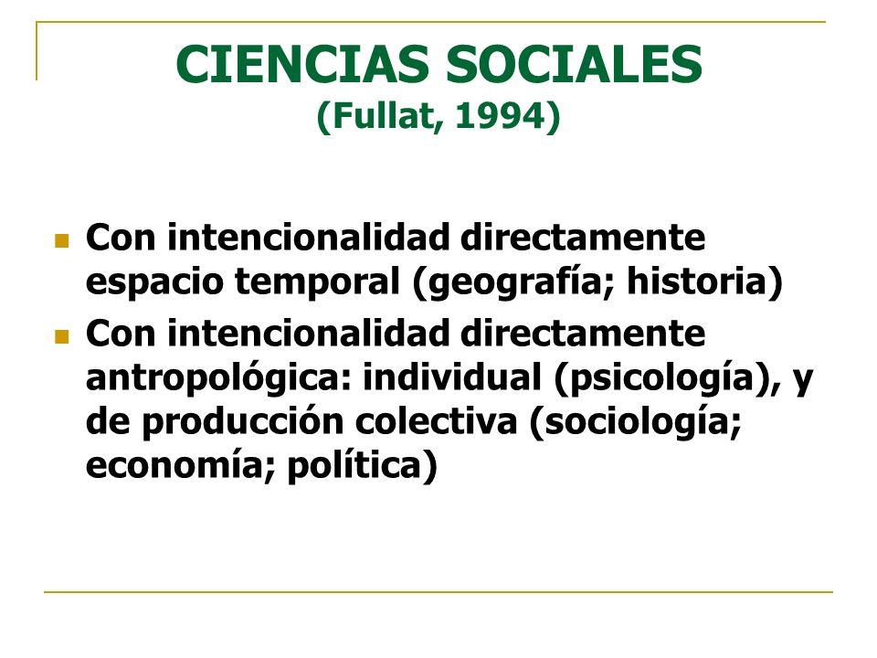 CIENCIAS SOCIALES (Fullat, 1994) Con intencionalidad directamente espacio temporal (geografía; historia) Con intencionalidad directamente antropológic