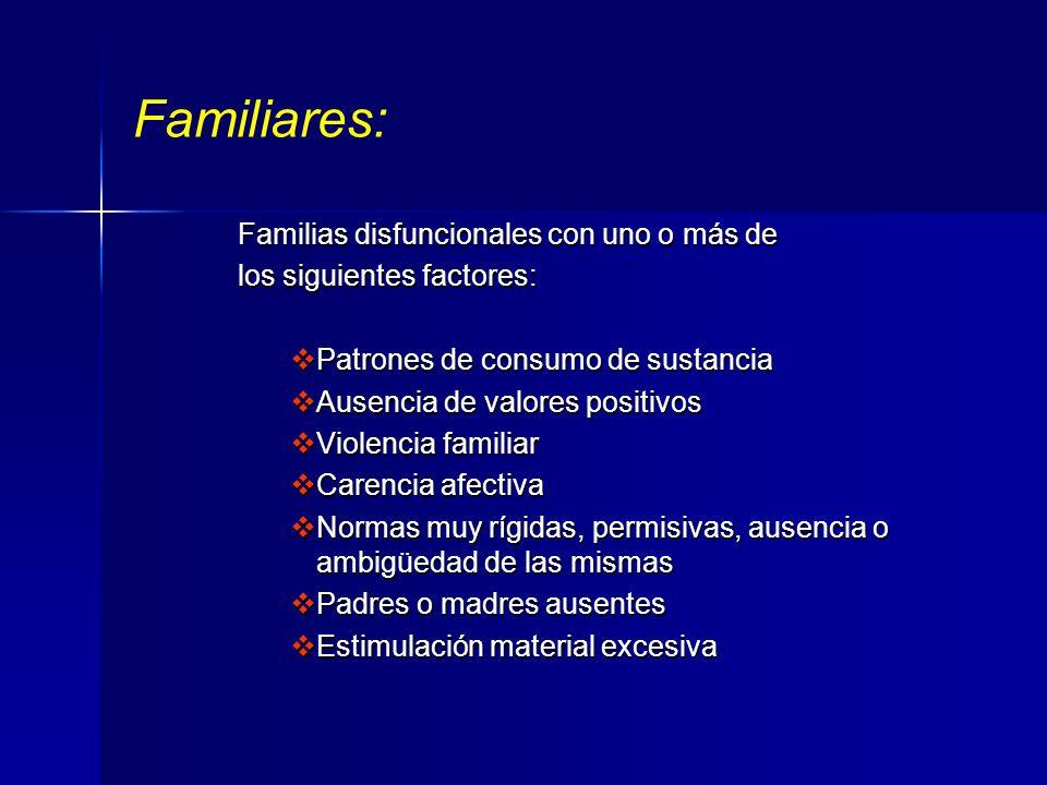 Individuales: Personas con consumo abusivo o dependientes del alcohol Personas con consumo abusivo o dependientes del alcohol Pacientes con patologías
