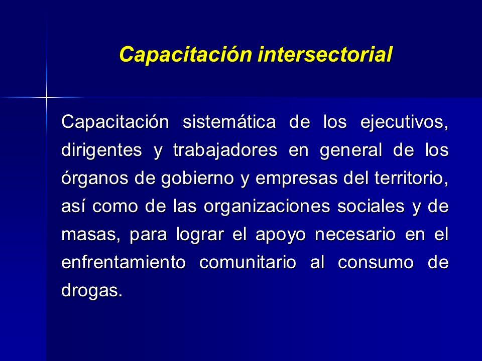 Capacitación intrasectorialidad. Capacitación sistemática de los profesionales de la salud, incluyendo trabajadores de las farmacias y otros centros a