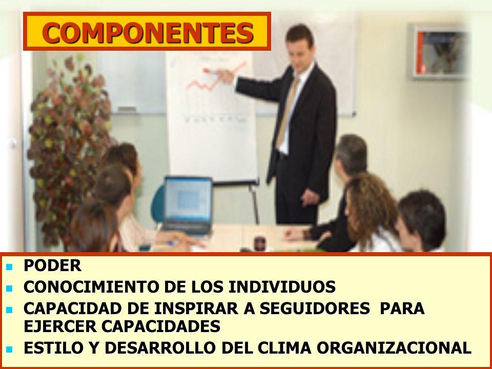 COMPONENTES PODER PODER CONOCIMIENTO DE LOS INDIVIDUOS CONOCIMIENTO DE LOS INDIVIDUOS CAPACIDAD DE INSPIRAR A SEGUIDORES PARA EJERCER CAPACIDADES CAPA