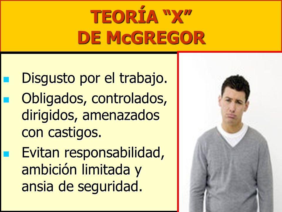 TEORÍA X DE McGREGOR Disgusto por el trabajo. Disgusto por el trabajo. Obligados, controlados, dirigidos, amenazados con castigos. Obligados, controla