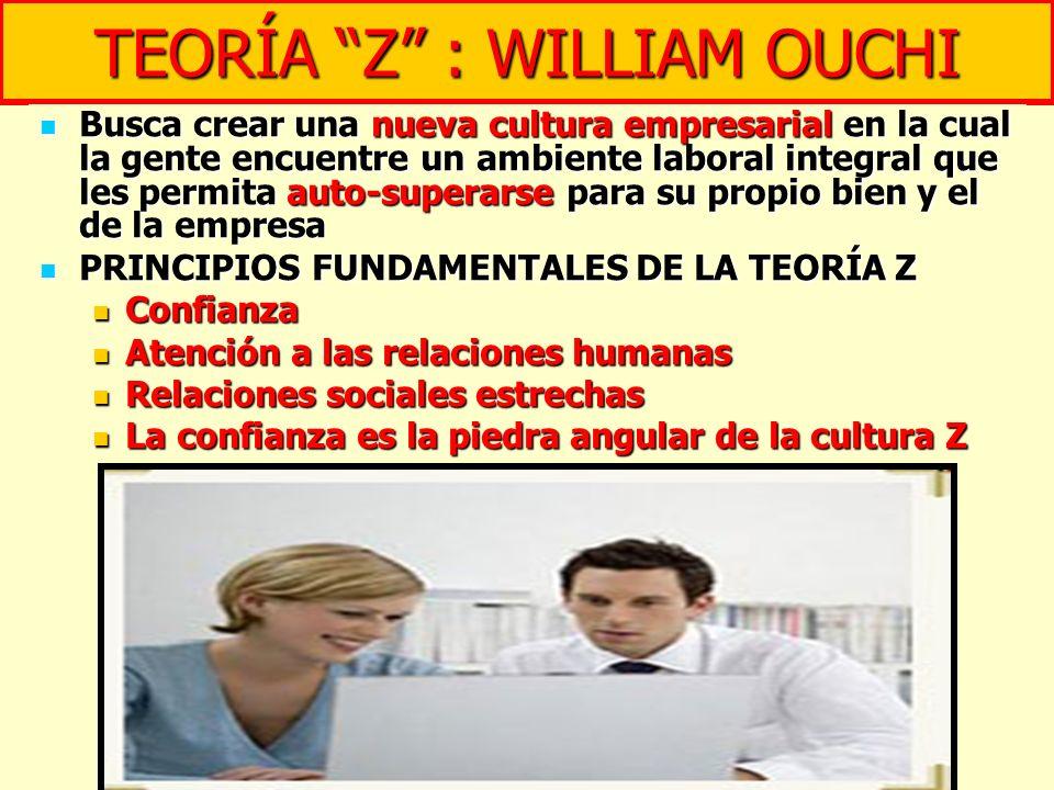 TEORÍA Z : WILLIAM OUCHI Busca crear una nueva cultura empresarial en la cual la gente encuentre un ambiente laboral integral que les permita auto-sup