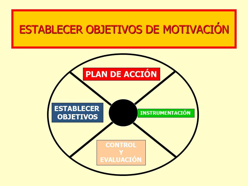 ESTABLECER OBJETIVOS DE MOTIVACIÓN PLAN DE ACCIÓN ESTABLECER OBJETIVOS INSTRUMENTACIÓN CONTROL Y EVALUACIÓN