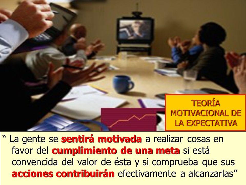 TEORÍA MOTIVACIONAL DE LA EXPECTATIVA La gente se sentirá motivada a realizar cosas en favor del cumplimiento de una meta si está convencida del valor