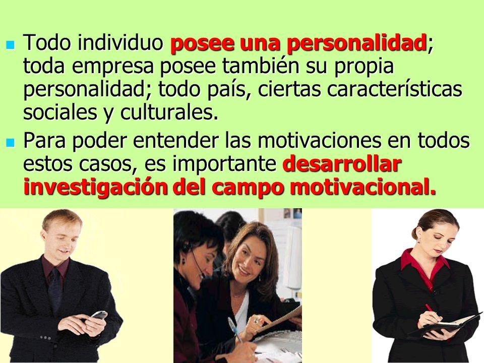 Todo individuo posee una personalidad; toda empresa posee también su propia personalidad; todo país, ciertas características sociales y culturales. To