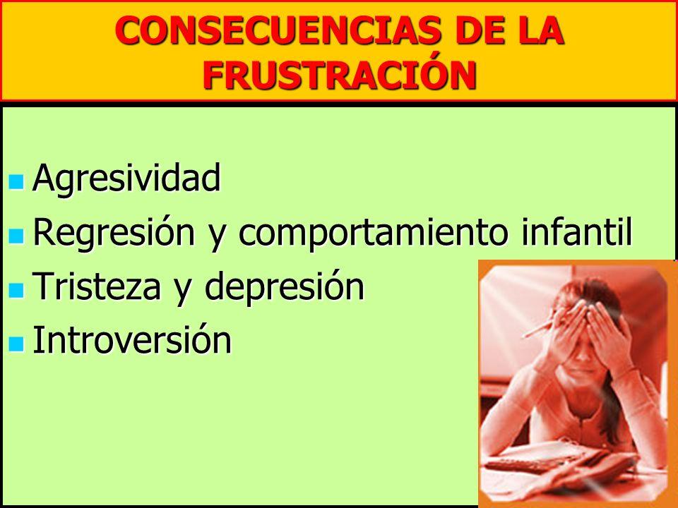 CONSECUENCIAS DE LA FRUSTRACIÓN Agresividad Agresividad Regresión y comportamiento infantil Regresión y comportamiento infantil Tristeza y depresión T