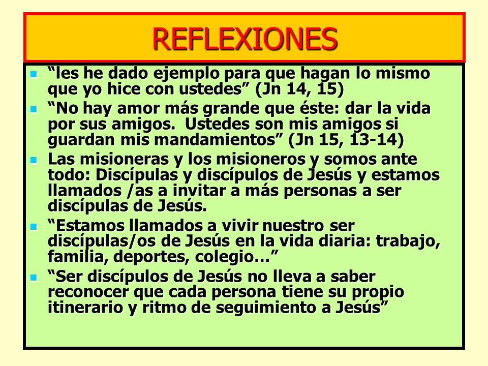 REFLEXIONES les he dado ejemplo para que hagan lo mismo que yo hice con ustedes (Jn 14, 15) les he dado ejemplo para que hagan lo mismo que yo hice co
