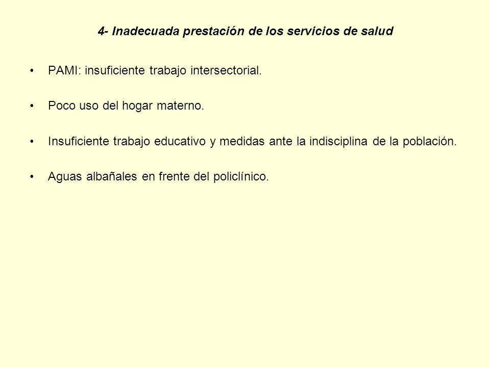 4- Inadecuada prestación de los servicios de salud PAMI: insuficiente trabajo intersectorial. Poco uso del hogar materno. Insuficiente trabajo educati