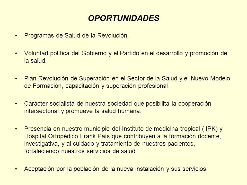 OPORTUNIDADES Programas de Salud de la Revolución. Voluntad política del Gobierno y el Partido en el desarrollo y promoción de la salud. Plan Revoluci