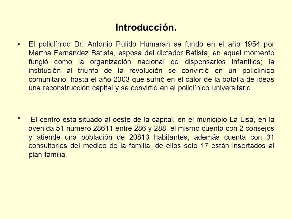 Introducción. El policlínico Dr. Antonio Pulido Humaran se fundo en el año 1954 por Martha Fernández Batista, esposa del dictador Batista, en aquel mo