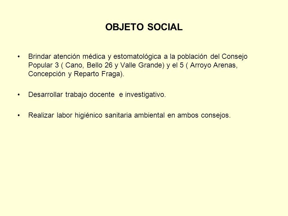OBJETO SOCIAL Brindar atención médica y estomatológica a la población del Consejo Popular 3 ( Cano, Bello 26 y Valle Grande) y el 5 ( Arroyo Arenas, C