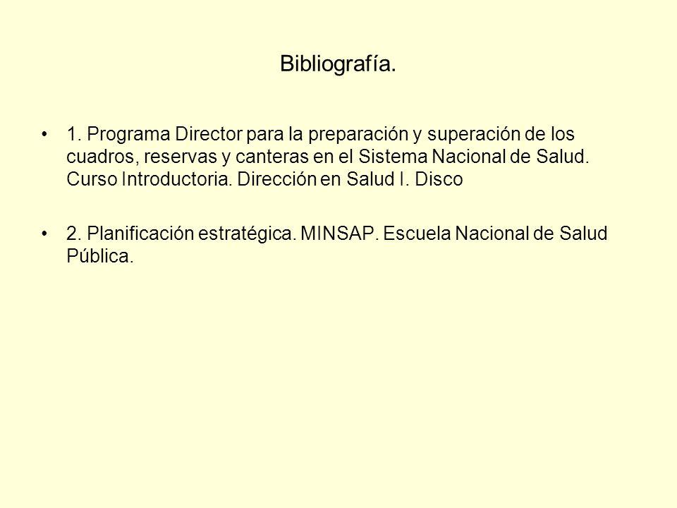 Bibliografía. 1. Programa Director para la preparación y superación de los cuadros, reservas y canteras en el Sistema Nacional de Salud. Curso Introdu