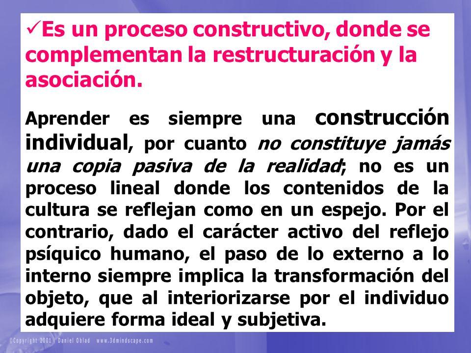 Es un proceso constructivo, donde se complementan la restructuración y la asociación. Aprender es siempre una construcción individual, por cuanto no c