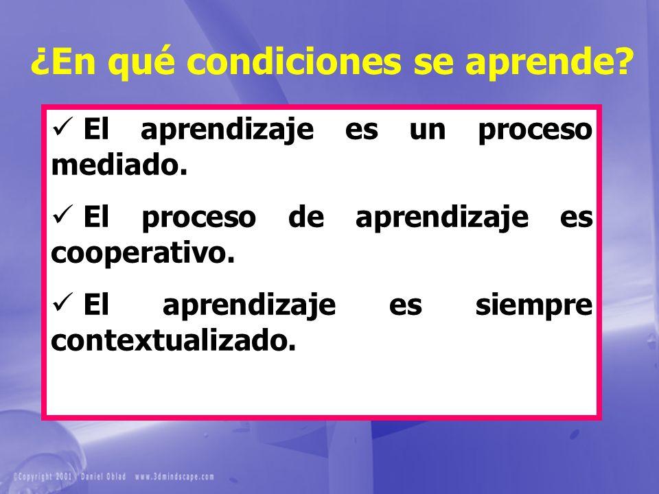 ¿En qué condiciones se aprende? El aprendizaje es un proceso mediado. El proceso de aprendizaje es cooperativo. El aprendizaje es siempre contextualiz