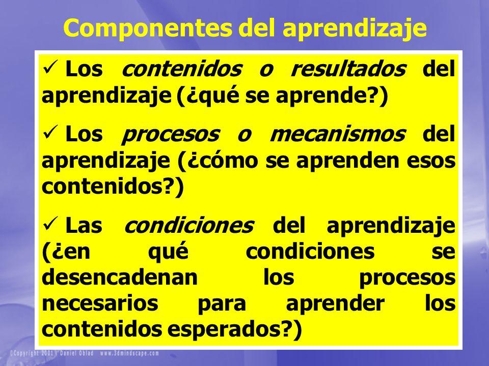 Componentes del aprendizaje Los contenidos o resultados del aprendizaje (¿qué se aprende?) Los procesos o mecanismos del aprendizaje (¿cómo se aprende