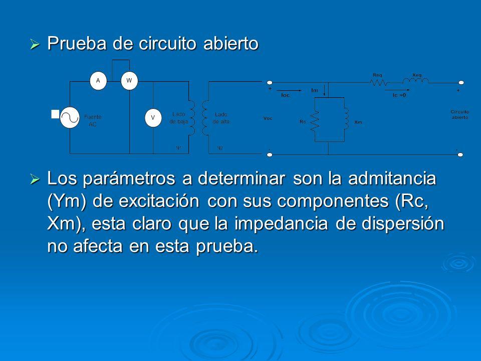 Prueba de circuito abierto Prueba de circuito abierto Los parámetros a determinar son la admitancia (Ym) de excitación con sus componentes (Rc, Xm), e