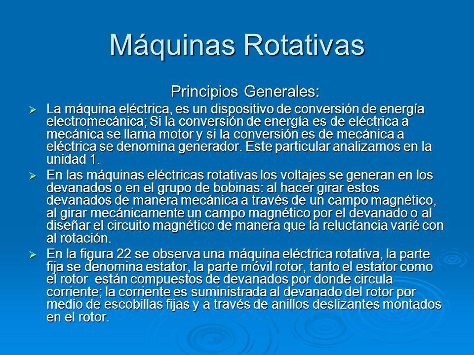 Máquinas Rotativas Principios Generales: La máquina eléctrica, es un dispositivo de conversión de energía electromecánica; Si la conversión de energía