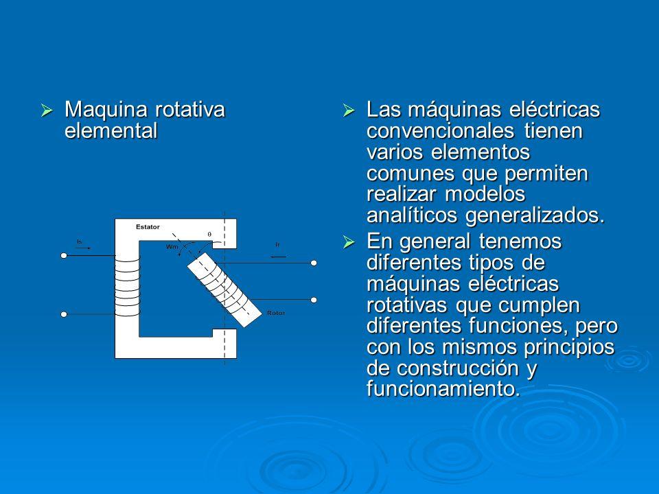 Maquina rotativa elemental Maquina rotativa elemental Las máquinas eléctricas convencionales tienen varios elementos comunes que permiten realizar mod