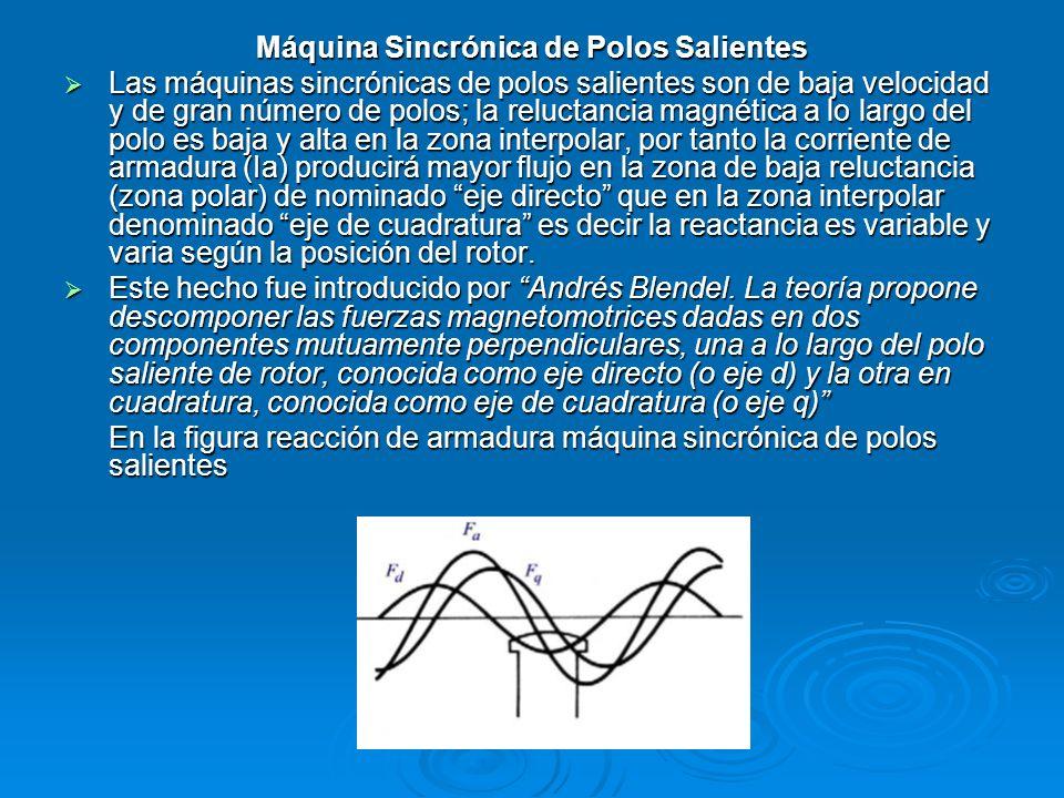 Máquina Sincrónica de Polos Salientes Las máquinas sincrónicas de polos salientes son de baja velocidad y de gran número de polos; la reluctancia magn