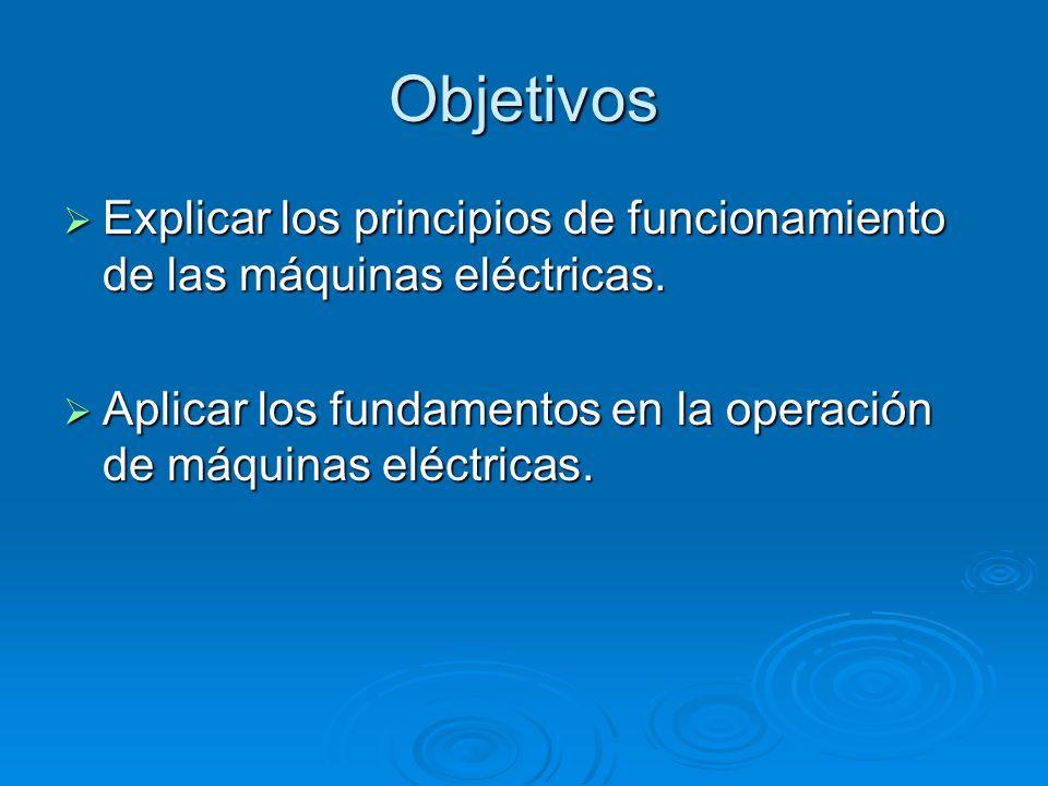 Objetivos Explicar los principios de funcionamiento de las máquinas eléctricas. Explicar los principios de funcionamiento de las máquinas eléctricas.