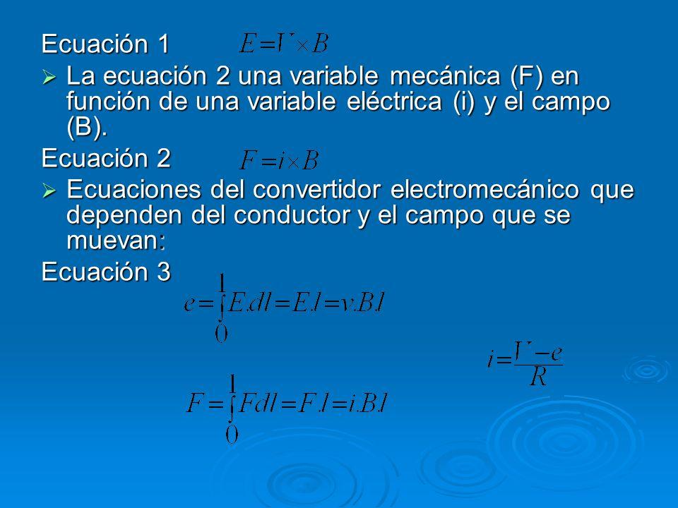 Ecuación 1 La ecuación 2 una variable mecánica (F) en función de una variable eléctrica (i) y el campo (B). La ecuación 2 una variable mecánica (F) en