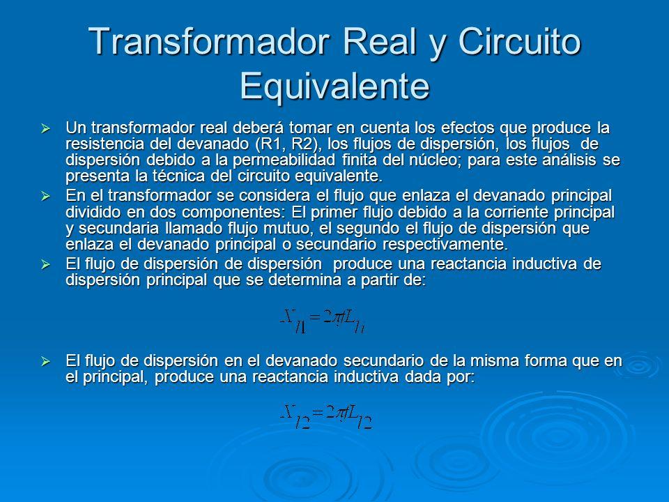 Transformador Real y Circuito Equivalente Un transformador real deberá tomar en cuenta los efectos que produce la resistencia del devanado (R1, R2), l