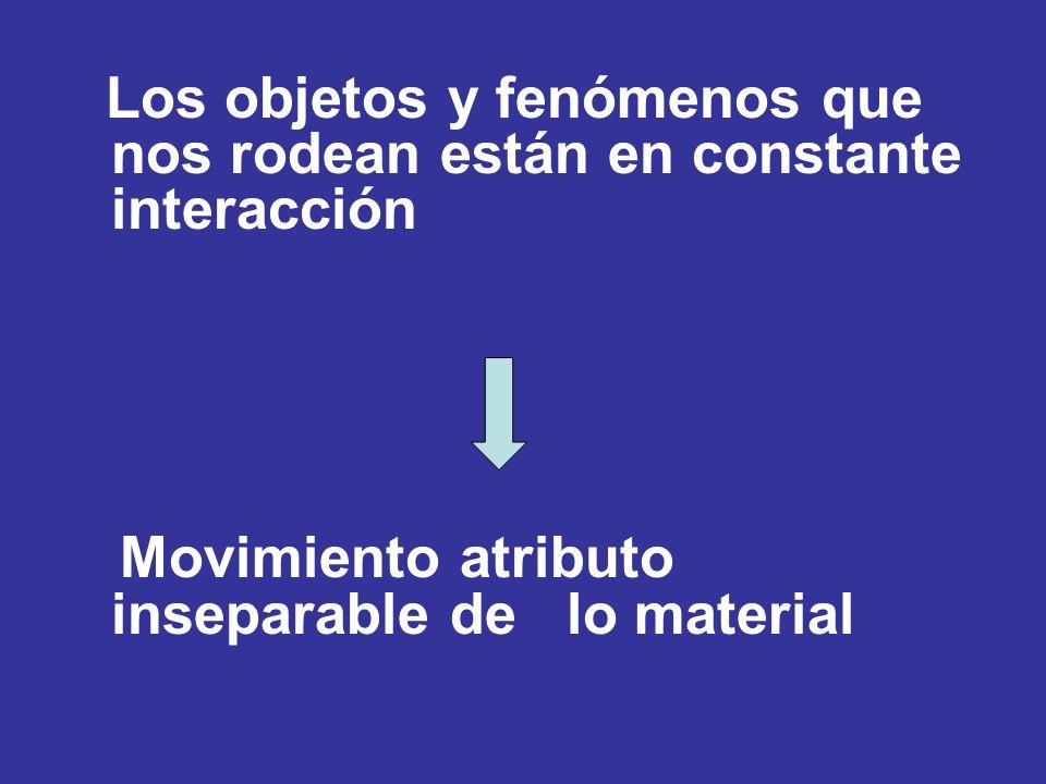Los objetos y fenómenos que nos rodean están en constante interacción Movimiento atributo inseparable de lo material