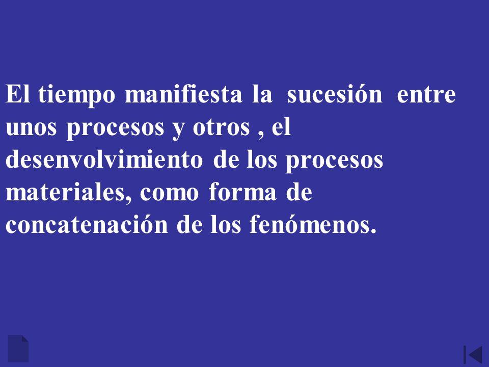 El tiempo manifiesta la sucesión entre unos procesos y otros, el desenvolvimiento de los procesos materiales, como forma de concatenación de los fenóm