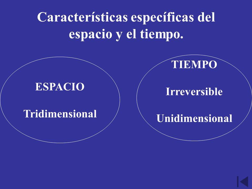 Características específicas del espacio y el tiempo. ESPACIO Tridimensional TIEMPO Irreversible Unidimensional