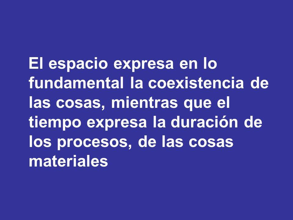 El espacio expresa en lo fundamental la coexistencia de las cosas, mientras que el tiempo expresa la duración de los procesos, de las cosas materiales