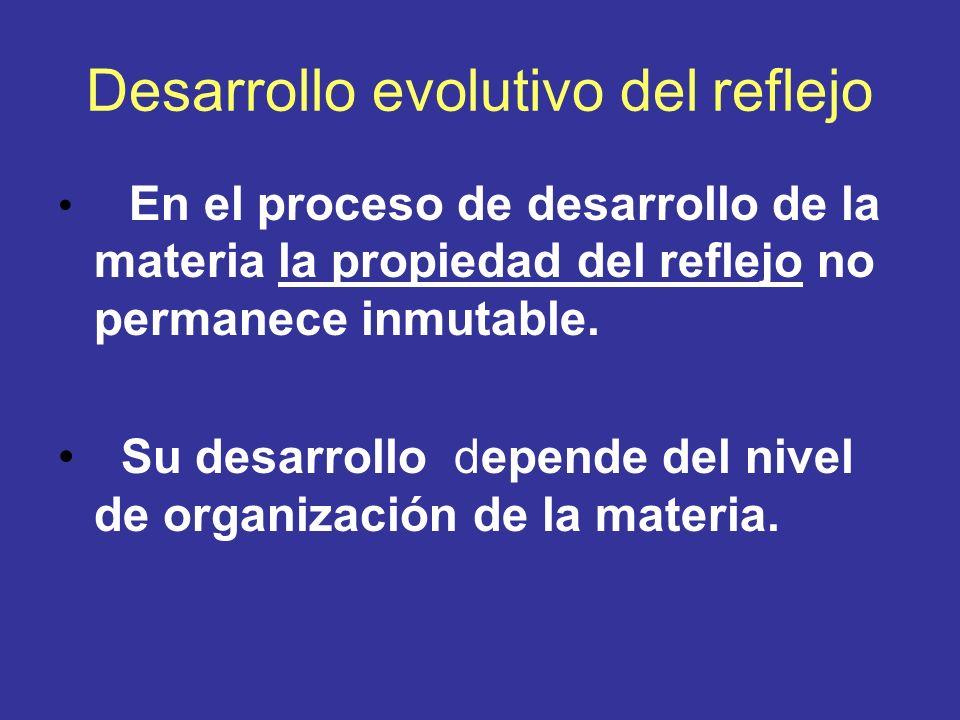Desarrollo evolutivo del reflejo En el proceso de desarrollo de la materia la propiedad del reflejo no permanece inmutable. Su desarrollo depende del