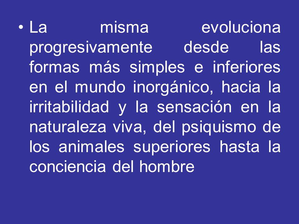 La misma evoluciona progresivamente desde las formas más simples e inferiores en el mundo inorgánico, hacia la irritabilidad y la sensación en la natu
