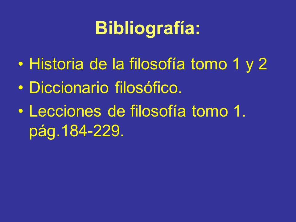 Bibliografía: Historia de la filosofía tomo 1 y 2 Diccionario filosófico. Lecciones de filosofía tomo 1. pág.184-229.