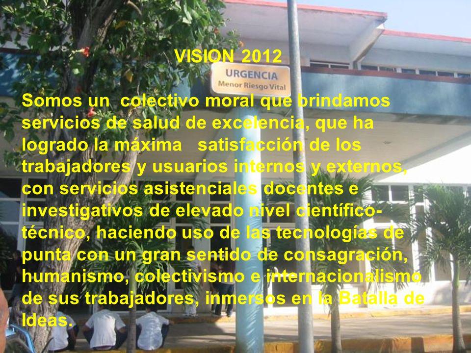 VISION 2012 Somos un colectivo moral que brindamos servicios de salud de excelencia, que ha logrado la máxima satisfacción de los trabajadores y usuar