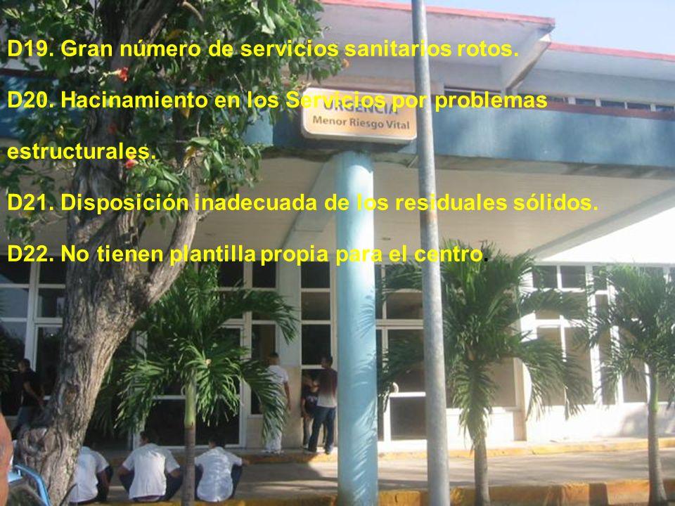 D19. Gran número de servicios sanitarios rotos. D20. Hacinamiento en los Servicios por problemas estructurales. D21. Disposición inadecuada de los res