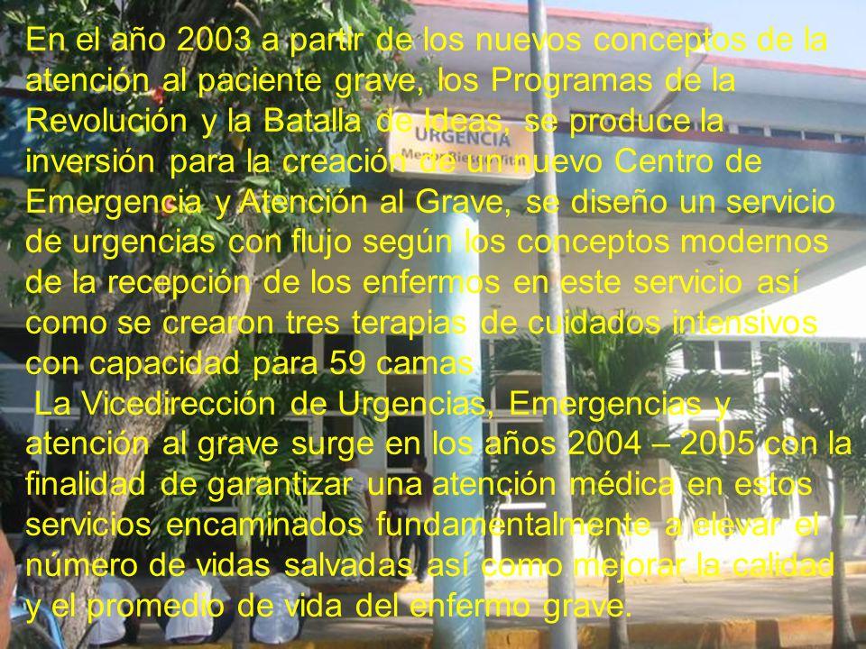 En el año 2003 a partir de los nuevos conceptos de la atención al paciente grave, los Programas de la Revolución y la Batalla de Ideas, se produce la