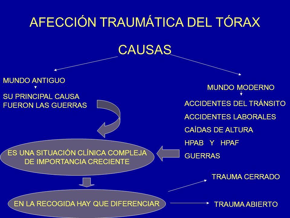 AFECCIÓN TRAUMÁTICA DEL TÓRAX CAUSAS MUNDO ANTIGUO MUNDO MODERNO SU PRINCIPAL CAUSA FUERON LAS GUERRAS ACCIDENTES DEL TRÁNSITO ACCIDENTES LABORALES CA
