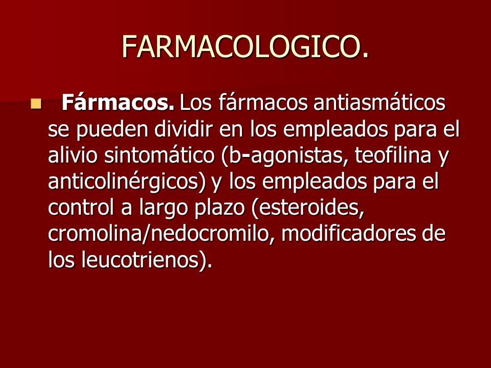 FARMACOLOGICO. Fármacos. Los fármacos antiasmáticos se pueden dividir en los empleados para el alivio sintomático (b-agonistas, teofilina y anticoliné